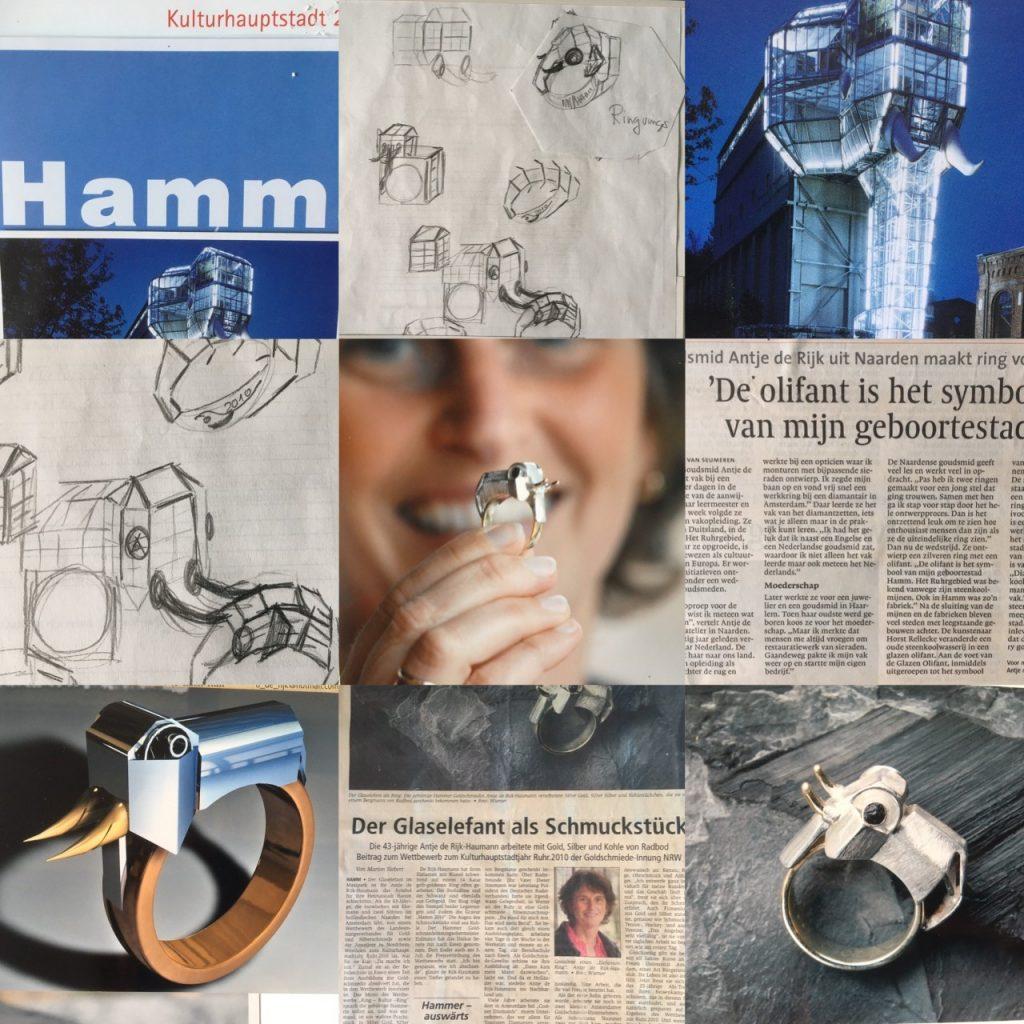 Glaselefant Hamm- symbool van mijn geboortestad verwerkt in een gouden ring
