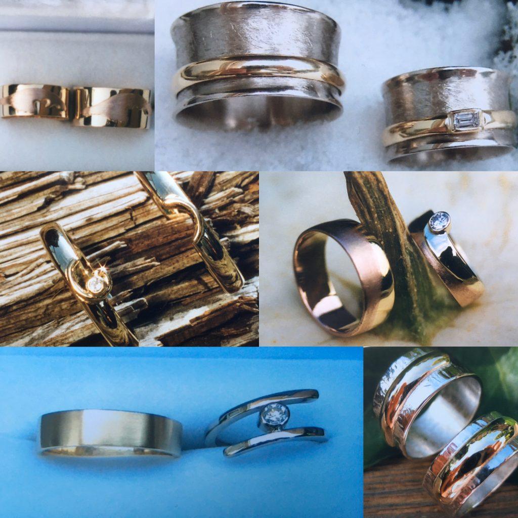 Witgoud, Geelgoud, Roodgoud,  handgemaakte trouwringen met of zonder steentje
